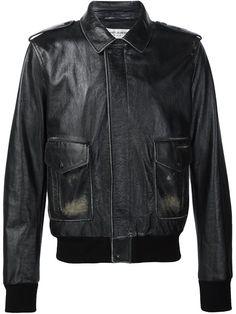 SAINT LAURENT Zipped Leather Jacket. #saintlaurent #cloth #jacket