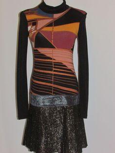 CUSTO BARCELONA Sz 1 SM Knit Jersey Dress Geometric Metallic Cotton Silk Blend #CustoBarcelona #StretchBodycon #Casual