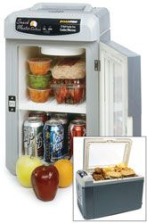 12 Volt Travel Coolers and 12 Volt Refrigerators for truckers and campers alike. These 12 Volt Coolers will plug directly into your cigarette lighter outlet and let you go to the grocery store and stock up on drinks, vittles, snack meats, and more. Why buy at a truck stop when you can stock up at a grocery store and have your 12 Volt cooler right beside your for those long trips? Trucker 12 volt Coolers are an excellent way to keep your food cold or warm on the road!