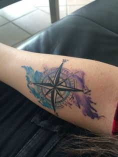 Watercolor tattoo combined with a compass! #watercolor #tattoo #compass