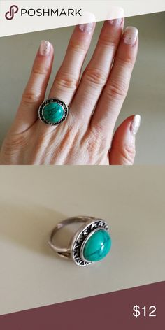 Natural gemstone turquoise howlite teal antique Plus Size. New with Tags. Gorgeous Natural Gemstone Buffalo Turquoise howlite Antiqued Tibet Silver ring. Mixed Metals. Lead & Nickel free. No trades or holds. Price is firm. Bundle to SAVE. R#14 Urban Outfitters Jewelry Rings