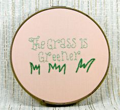 Sale runs through February! The Grass is Greener Embroidery Hoop by HeyPaulStudios, $24.00