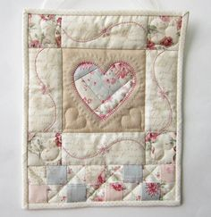 Mini Quilt Wall Hanging Aqua Heart Wall by LittleTreasureQuilts, $70.00