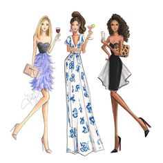 Happy Hour Print by HNIllustration on Etsy Illustration Mode, Fashion Illustration Sketches, Fashion Design Sketches, All Fashion, Fashion Week, Fashion Art, Womens Fashion, Croquis Fashion, Venice Beach