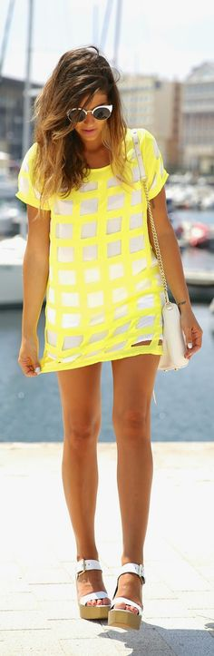 Stlye Me Hip: White and Yello Checked Style Dress with Chic Shoe...