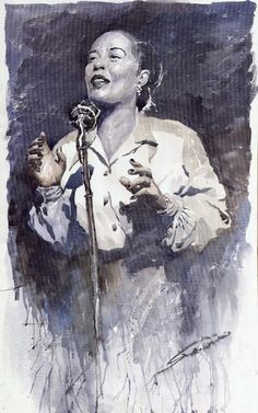 Yuriy Shevchuk artwork Jazz Billie Holiday Lady Sings The Blues for sale and offering more original artworks in Watercolor medium and Portrait theme. Contemporary artist website Contemporary Watercolor Artist from Prague Czech Republic. Billie Holiday, Blues Rock, Jimi Hendrix, Ringo Starr, Jazz Painting, Lady Sings The Blues, Jazz Artists, Blues Artists, Jazz Musicians