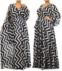 Chiffon Maxi Dress Wrap Sheer Long Sleeve Sweep Blouse Party Vtg Gown Full Skirt | eBay