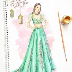 Beautiful in an exquisite lehenga by inspired by grand European courtroom gowns with floral embellishments 💚 Dress Design Drawing, Dress Design Sketches, Fashion Design Sketchbook, Dress Drawing, Fashion Design Drawings, Fashion Sketches, Art Sketchbook, Dress Illustration, Fashion Illustration Dresses