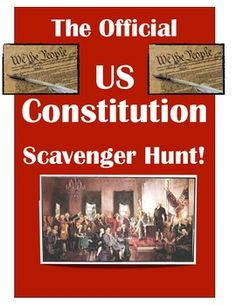 The Official US Constitution Scavenger Hunt!  Engage your classroom with this easy introduction to the Constitution!