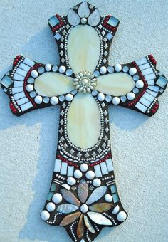Mosaic Cross  The Promise by BrokenBeautyMosaics on Etsy, $115.00