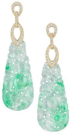 Mimi So Couture Jade and Diamond Earrings. Jade (45.83ct) and Diamond (0.65ct) Earrings in 18 Karat Yellow Gold.