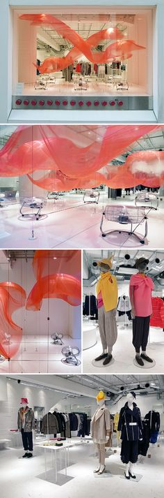 """Bloom Skin"" window display for Issey Miyake, (by WOW studio). Floating cloth, controlled by fans via computer."