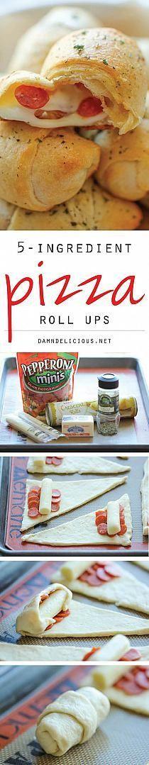 5 ingredient pizza roll up Appetizer Recipes, Snack Recipes, Cooking Recipes, Appetizers, Recipes Dinner, Potato Recipes, Pasta Recipes, Crockpot Recipes, Soup Recipes