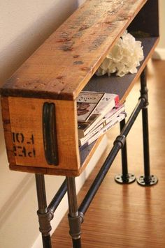 Slim & industrial looking hallway table/bench