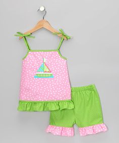 This Pink Polka Dot Sailboat Ruffle Top & Shorts - Infant by Kandyland is perfect! #zulilyfinds