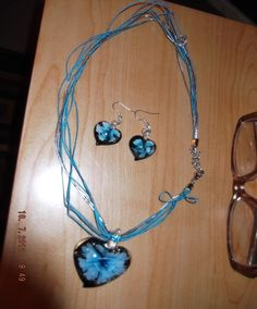 "16"" blue heart earring and necklace set $15.00"