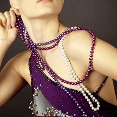 Steel and Purple Latin dress with Pearls – Ballroom Sparkle Pearl Dress, Designer Dresses, Pearl Necklace, Sparkle, Steel, Couture, Pearls, Fashion, String Of Pearls