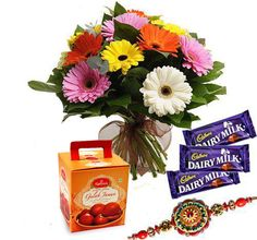 Expresses your deep love to your sweet brother by sending this exciting rakhi combo that will adore your beloved brothers wrist on this Raksha Bandhan. Buy online from IndianGiftsCenter.com