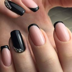 Glamorous Nude Nails With Black Tips And Silver Beads #Frenchmanicure