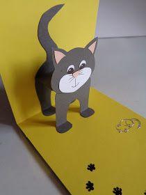 La souris dodue: Pop-up Fun Fold Cards, Pop Up Cards, Cat Cards, Kids Cards, Pop Up Card Templates, Paper Cards, Preschool Crafts, Homemade Cards, Birthday Cards