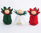 Felt Ornament Poinsettia Doll - Miniature Holiday Flower Decoration Stocking Stuffer. $25.00, via Etsy.