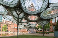 Inspired by beetles and fabricated by a robot, this striking garden pavilion…