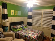 Charlie's big boy room! Curtains made by Luda at http://www.sewingsalonincanto.com/ Pottery Barn Kids quilt