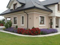 Realizacja projektu domu Maja 3 on Behance Exterior Paint Colors For House, Exterior Colors, House Colors, Exterior Design, Modern Bungalow House, Bungalow Exterior, 2 Storey House Design, House Front Design, Building Design