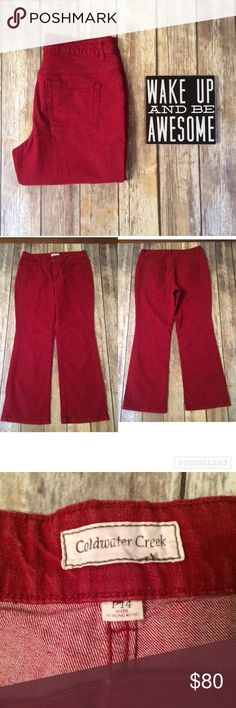 "🇺🇸SALE COLDWATER CREEK Red Straight Leg Jeans COLDWATER CREEK Red Straight Leg 14P Petite Jeans. EUC.  Waist measures 16 1/2"" flat across at back. Inseam is 28"". Front rise 10 1/2"", rear rise 15 1/2"". Leg opening is approximately 18"" around. 99% cotton 1% spandex. Coldwater Creek Jeans Straight Leg"