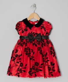This Red Floral Puff-Sleeve Dress - Toddler & Girls is perfect! #zulilyfinds