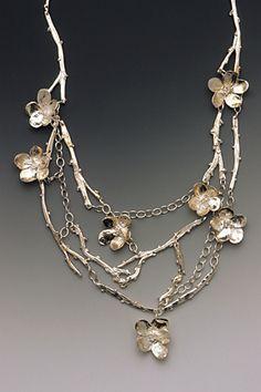 "Necklace | Mary Ellin D'Agostino.  ""Cherry Blossoms"".  Precious metal clay…"