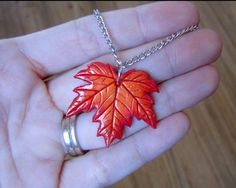 Red Autumn Maple Leaf Pendant Necklace, Polymer Clay Charm