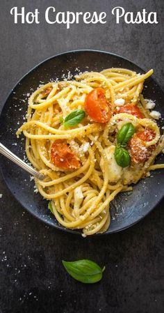 Hot Caprese Pasta made with fresh tomatoes, basil and mozzarella, mixed together until creamy and delicious.  An Italian Pasta Recipe.