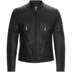 Sandro Speedway Leather Jacket (€1.235) ❤ liked on Polyvore featuring men's fashion, men's clothing, men's outerwear and men's jackets
