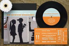 "Creative: 7"" vinyl record wedding invitations for music lovers <3    #vinyl_record #wedding #invitation"