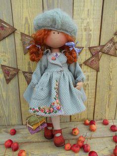 Купить МАЛЫШКА в пальтишке (рыжик) - комбинированный, кукла в пальто, кукла ручной работы, кукла для девочки