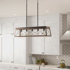 Modern Kitchen Interior Delon Kitchen Island Pendant - This piece features a classic pattern commonly found on barn or farmhouse doors and gates. The simple geometric form features a faux-painted wood enclosure to frame vintage-style light bulbs. Diy Interior, Interior Design Kitchen, Kitchen Designs, Interior Paint, Coastal Interior, Interior Modern, Farmhouse Lighting, Kitchen Lighting, Farmhouse Chandelier