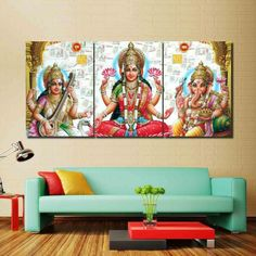 Properties Material: Cotton Polyester Availability: Framed (Framed comes stretched and is ready to hang on wall) Home Office Space, Canvas Frame, Deities, Meditation, Wall Art, Painting, Wealth, Zen, Home Decor