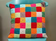 """""""Nana Square Cushion"""" by AnnieDesign! I love these little squares! Got to learn how to stitch them!!! I love the miss-matched back-side of this pillow too."""