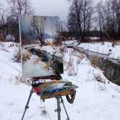 На этюдах. #winter #plein air #painting #art #Russian #scenery #sketch #oil #realism #Nesterchuk #зима #пленэр #искусство #живопись #этюд…