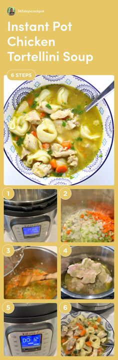 Instant Pot Chicken Tortellini Soup—brothy chicken soup with tortellini and a splash of lemon juice. Leveled up chicken noodle soup. #instantpot #soup #chicken