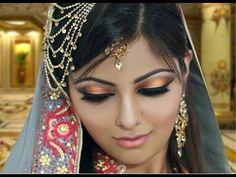 Gold and Peach Mehndi Makeup Tutorial - Indian Bridal /Asian /Arabic /Pakistani - Contemporary Look - YouTube