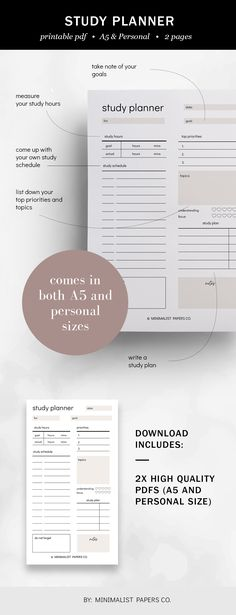 Minimalist Student Planner and Study Printable, Study and Academic Printable, School and College Planner - A5 & Personal Size For Individual Who Loves Minimalistic And Clean Design, Instant Download! Printable Planner, Printables, College Planner, Study Planner, Papers Co, Clean Design, A5, Planners, Minimalist