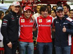 Brazil, 2011  At Interlagos, Schumacher poses with Felipe Massa, Fernando Alonso (Ferrari) and Rubens Barrichello (Williams)