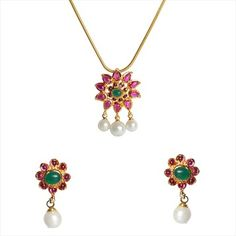 307259 Gold Rodium Polish Green,Pink and Majenta color family Pendant in Metal Alloy studded with Pearl.