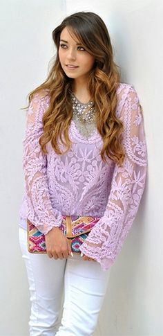 Purple Lavender Sheer Mesh Lace Scoop Neck Long Sleeve Scallop Blouse Top