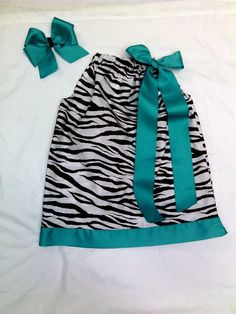 Brown and aqua pillowcase dress and matching bow by tutus2trains, $20.00