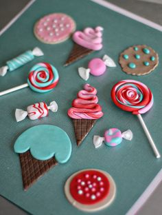 Fondant Candy, Ice Cream, Lollipop and Cookie Toppers for Decorating Cakes, Cupcakes, Cookies or other Treats via Etsy