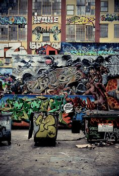 5 Pointz in Long Island City - Angels and Demons collabo wall featuring artist CortesNyc