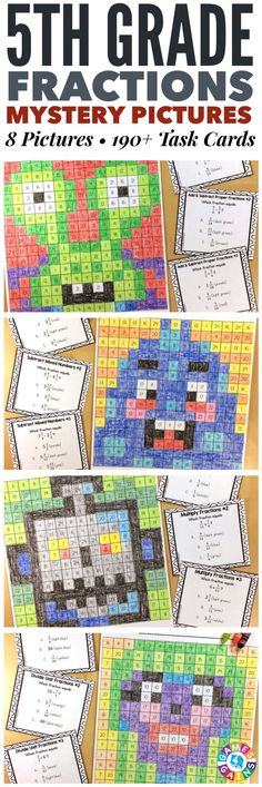 """I LOVE these mystery pictures for reinforcing concepts!"" These Grade Fractions Mystery Pictures are perfect for practicing key grade Common Core fractions standards. This set includes 8 different pictures and over 190 task cards covering equivalen 4th Grade Fractions, Fifth Grade Math, Multiplying Fractions, Comparing Fractions, Equivalent Fractions, Adding Fractions, Dividing Fractions, Fourth Grade, 4th Grade Math Games"